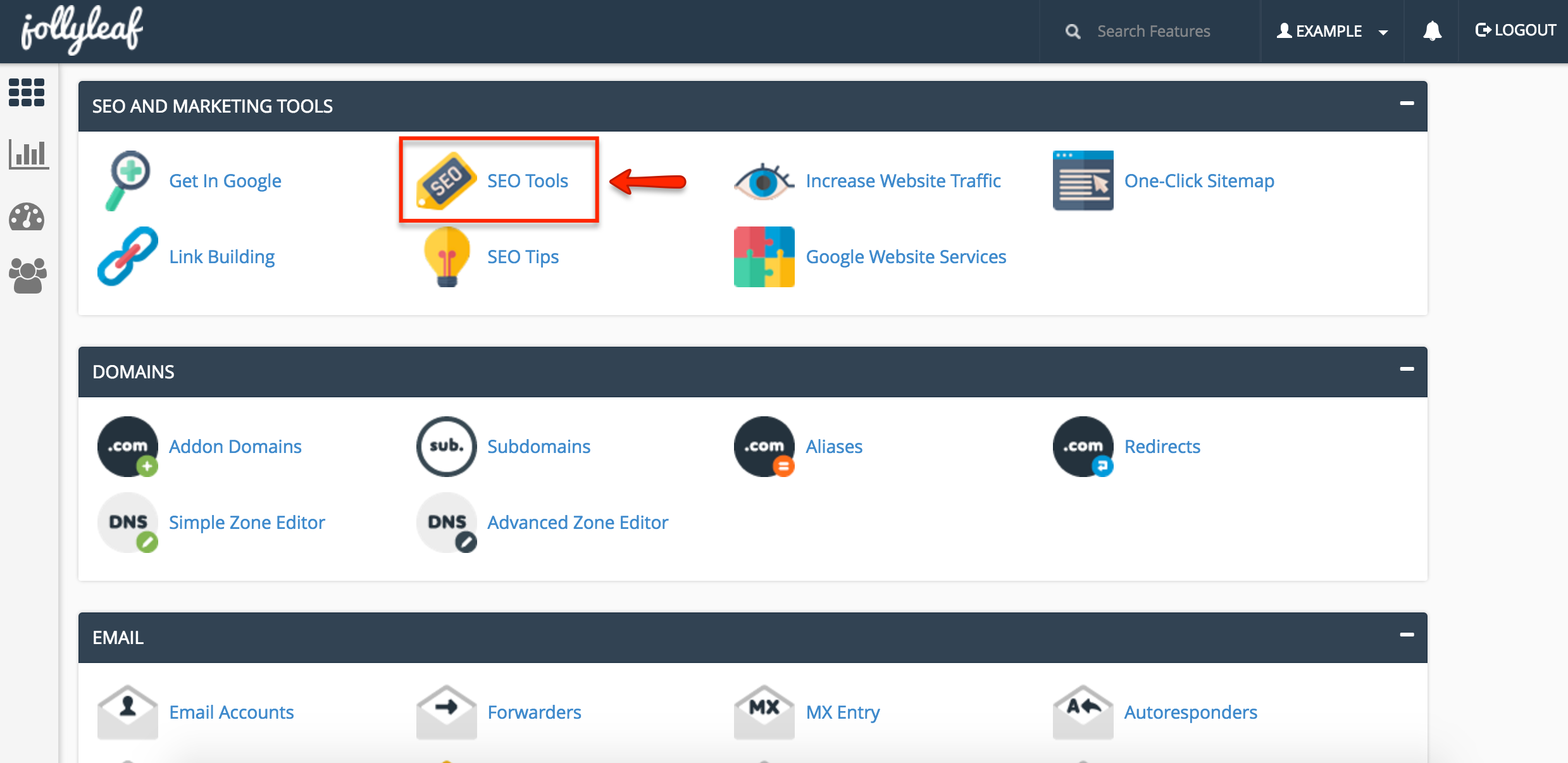 SEO Tools for search engines via the Jolly Leaf cPanel