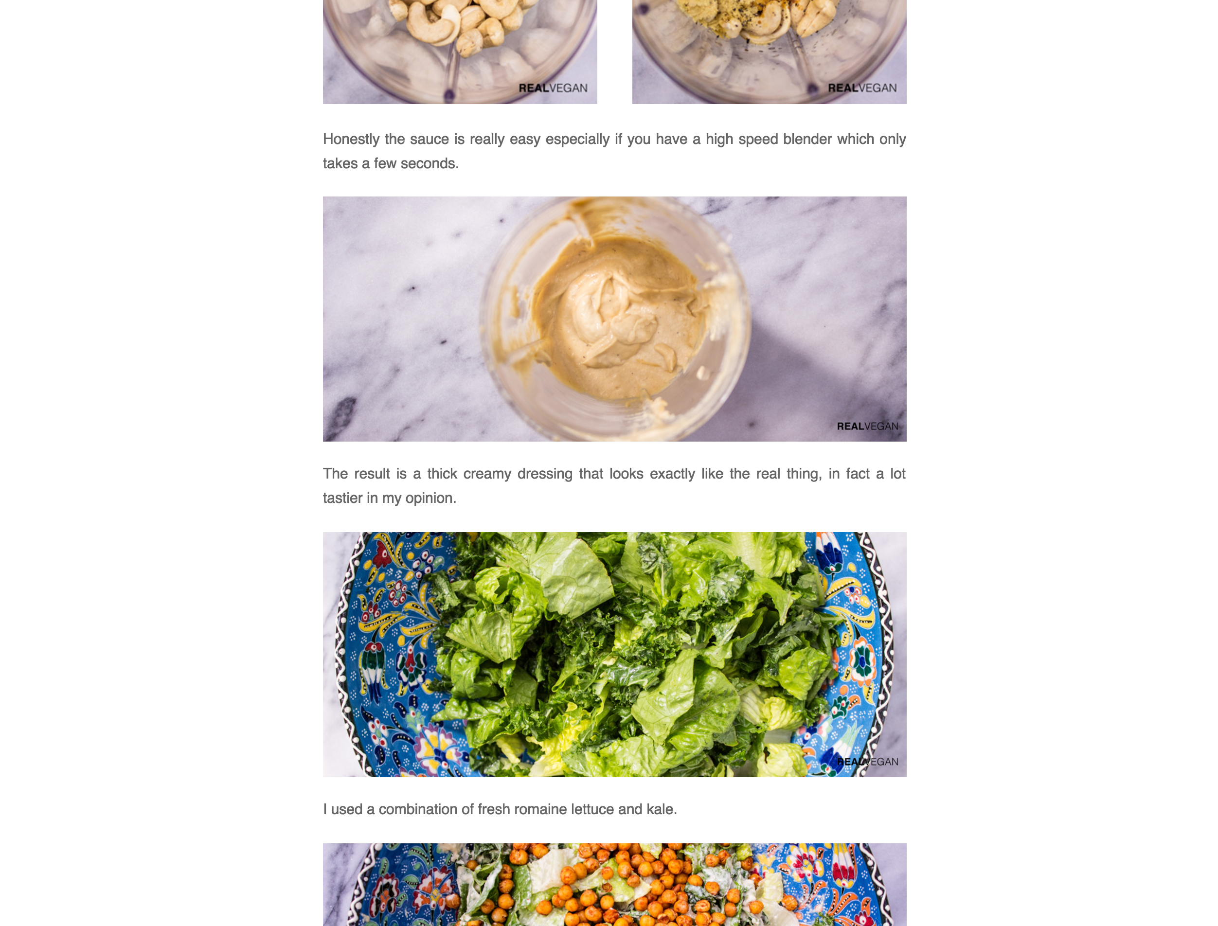 A screenshot of a recipe from realvegan.co.uk