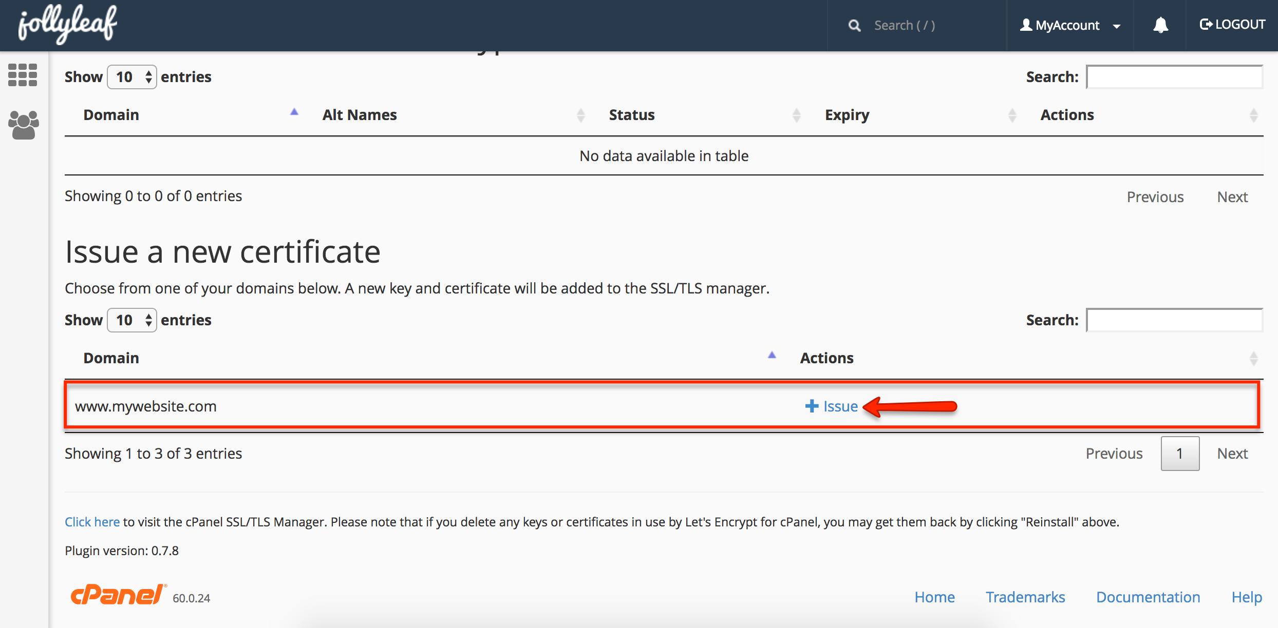 Free Let's Encrypt SSL certificate web hosting